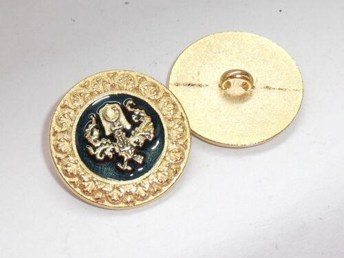 6 pièce de métal Boutons bouton boutons blason Bouton 28 mm GOLD NEUF inoxydable #855.2#