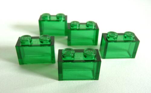 5 x LEGO ® 3065 transparente 1x2 pierres vert d'occasion