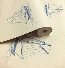 Dark Cream & Blue, Sailing Boat Nautical Themed, Textured, Solid Vinyl Wallpaper