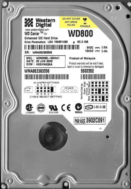 Western Digital WD800BB-53CAA1 80GB IDE Hard Drive DCM: HSEHNA2AA