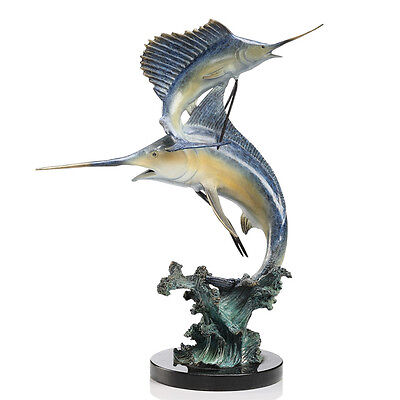 Solid Brass Marlin & Sailfish Hot Patina Finish Gallery Sculpture on Marble Base