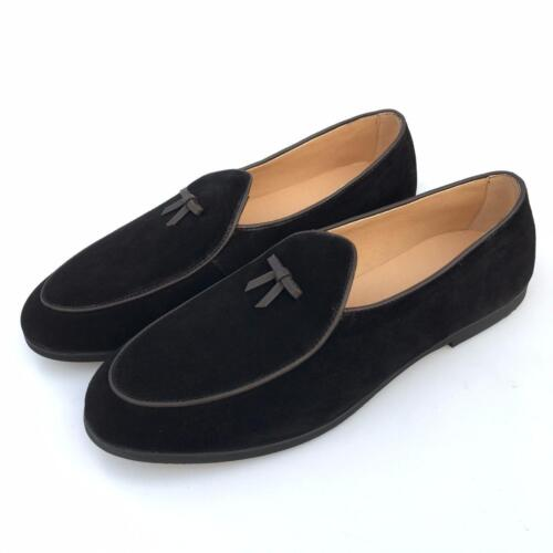 Comfort Leather Loafers Belgian DressShoes Mens Prom Shoes Slip on Flats Bowtie