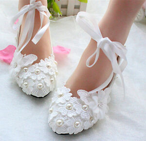 Wedding shoes lace pearl white Bridal flats low heel high heels ...