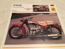 Fiche moto collection Atlas motorbike ZÜNDAPP 600 cc KS601 Elastic KS 601 1957