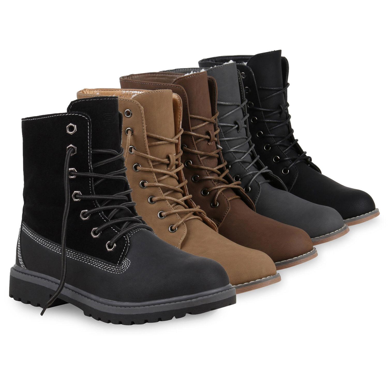 Gefütterte Damen Stiefeletten Stiefel Worker Boots 813365 Schuhe
