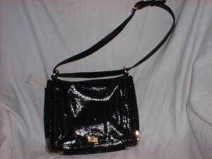 ANN-TAYLOR-Women-039-s-Purse-Handbag-Leather-Black-Sheen-Gold-Hardware-3-Pockets-NWT