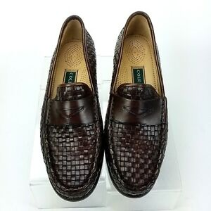 cdaba71e5cee2 Details about Cole Haan Woven Leather Penny Loafers Flats Womens 9AA Brown  Slip on