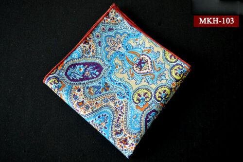Men Paisley Floral Cotton Colorful Handkerchief Wedding Pocket Square Hanky