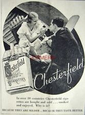 1932 CHESTERFIELD Cigarettes AD Punting Couple - Small Art Deco Print ADVERT