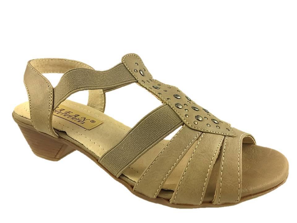 Mesdames Faux Cuir ÉlastiquÉ DoublÉes Cuir Strappy Sandals Taupe Taille 3-8