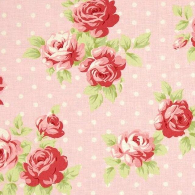 Tanya Whelan Cottage Shabby Chic Cotton Fabric Lulu Roses Lilly PWTW093-Pink BTY