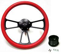 1967 - 1968 Chevy Ii, Nova 14 Red Billet Steering Wheel + Chevy Horn + Adapter