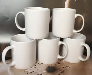 Set-of-5-NEW-PLAIN-WHITE-MUGS-tea-coffee-MUG-CUP-KITCHEN-300-ml
