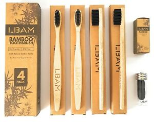 Bamboo-Toothbrush-Pack-of-4-Natural-Charcoal-Dental-Floss-Medium-Bristles