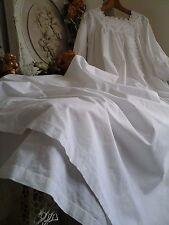 Antiguo Francés Chemise noche Camisa/Blusón ~ Tejidos A Mano Césped Algodón/broidery inglés