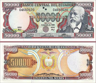 5000;10000;20000;50000 Sucres 12-7-1999 SET Ecuador Pick 127;128;129;130 UNC