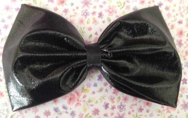 "HANDMADE 5"" BLACK SHINY WET LOOK PVC FABRIC BOW HAIR CLIP RETRO GOTHIC STYLE"