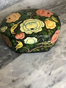 Wooden Floral & Bird Chintzy Trinket Box & Lid Retro 10cm Bedroom Jewellery Box