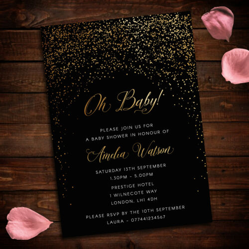 Baby Shower Invitations Gold and Black speckle theme pack of 10 A6 cards