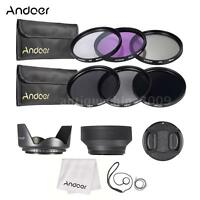 58mm UV CPL FLD ND 2 4 8 Lens Filter Kit Pouch + Hood + Cap for Canon Nikon F5A2