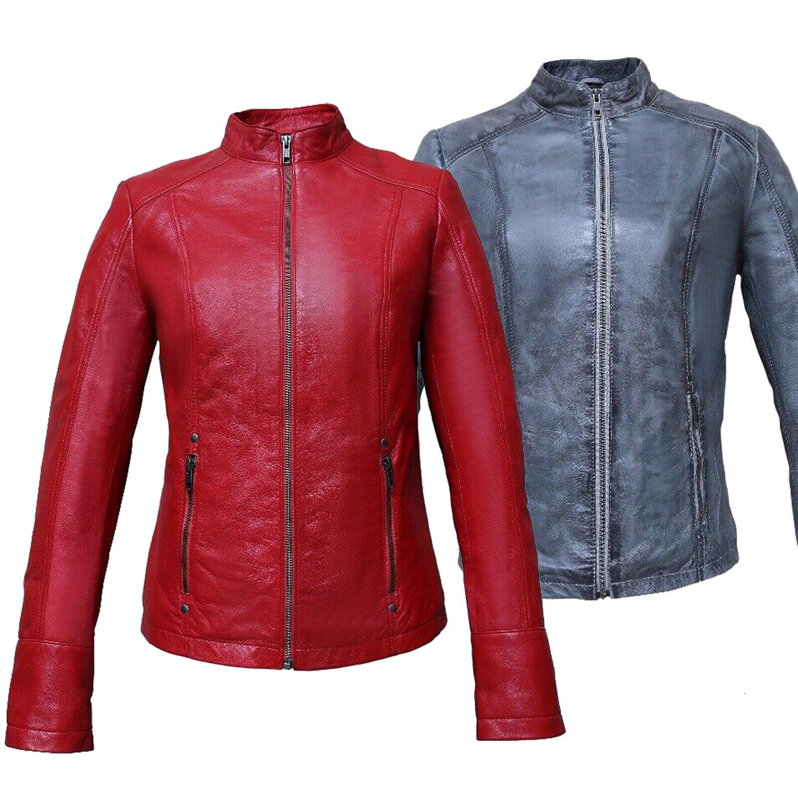 Chaqueta de Cuero de  Moda para Mujer Vintage FJ.01 Rojo, Azul M&H 006  sin mínimo
