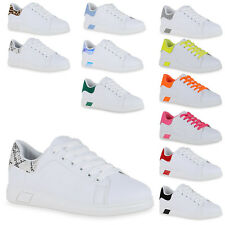 Damen Sneaker Low Basic Turnschuhe Schnürer Leder-Optik Schuhe 898938 Top