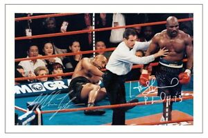 EVANDER HOLYFIELD & MIKE TYSON SIGNED PHOTO PRINT AUTOGRAPH BOXING