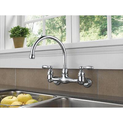 Peerless Choice 2-Handle Wall Mount Kitchen Sink Faucet 360° Spout Swivel  Chrome 34449652254 | eBay