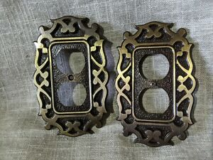 Lot Of 2 Vintage National Lock Outlet Metal Covers Switch Plate Retro 1 Screw Ebay