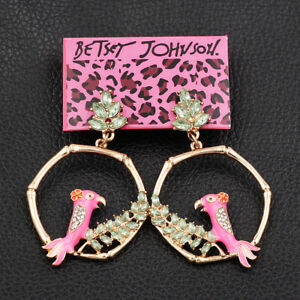 Women-039-s-Enamel-Crystal-Bird-Round-Earbob-Dangle-Betsey-Johnson-Earrings-Gift