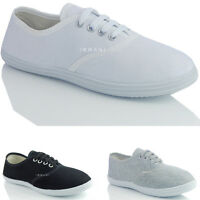 WOMENS LADIES FLAT CANVAS LACE UP FRONT CASUAL PLIMSOLL TRAINER SHOES SIZE