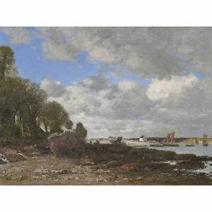 Eugene-Boudin-Plougastel-The-Ferry-Crossing-1873-Painting-XL-Wall-Art-Canvas-Pri