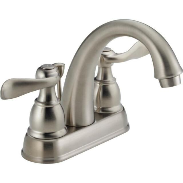 Delta Brushed Nickel 2 Handle 4in Centerset Water Sense Bathroom