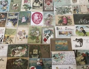 Lot-of-45-Antique-1900-039-s-Mixed-Topics-Greetings-Postcards-All-with-stamps-s859