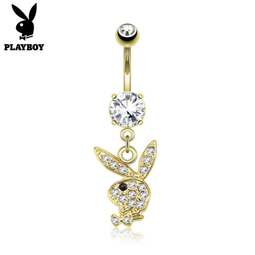PLAYBOY Bunny GOLD Plated Dangle BELLY Button NAVEL RINGS Body Piercing Jewelry