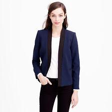 J.CREW Navy Blue Lined Asymmetrical Crepe Blazer Jacket Size 00 $188.00
