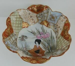 Vintage Signed Japanese Satsuma Three Footed Ceramic Bowl Hand Painted Moriage