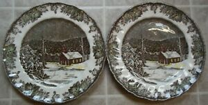 LOT-of-2-Johnson-Brothers-FRIENDLY-VILLAGE-DINNER-PLATES-made-in-England