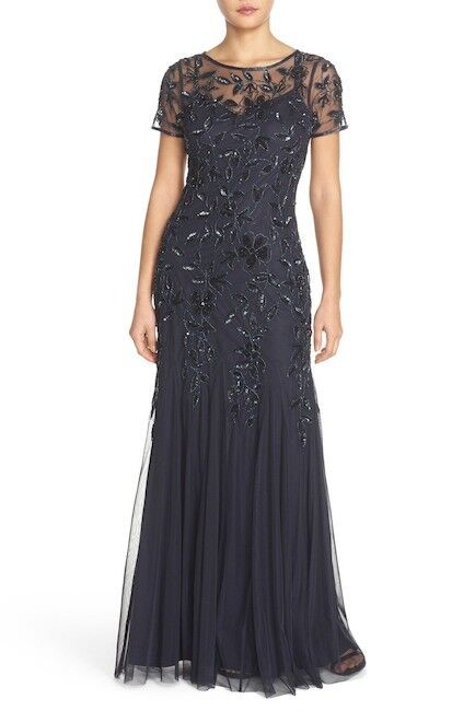 Adrianna Papell Floral Beaded Trumpet Gown TWILIGHT Navy Size 4