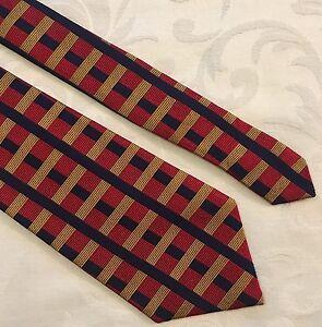 17328d76d8ba BULLOCK & JONES Red Blue Gold Checked 100% Silk Neck Tie Made In ...
