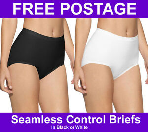 New-Ladies-Black-White-Seamless-Light-Tummy-Control-Pants-Underwear-Knickers