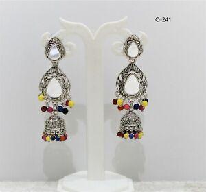 Indian Pakistani  Bollywood Ethnic Silver Plated Jhumki Earing Tribal Jewellery