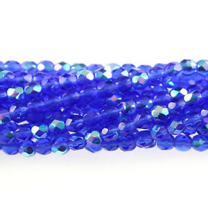 Sapphire Blue AB 50 3mm Faceted Round Fire Polish Czech Glass Beads