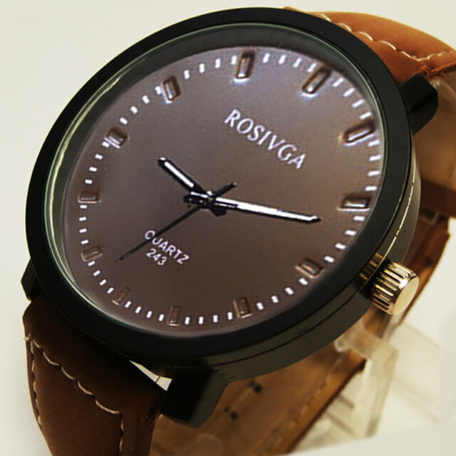 New Fashion Mens Watch Quartz Wrist Watch Round Dial Faux Leather Strap Watches