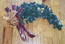 LG Wall Hanging Christmas Foliage Gold Red Berry Bow Wreath Garland Poinsettia