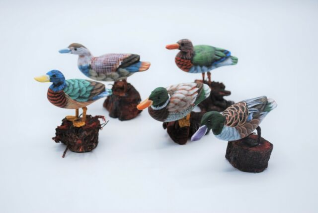 "Set of 5 Small 2/"" 5 Male Mallard Mini Wooden Duck Figurines Decoy Carved"