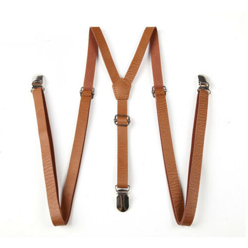 Classic Clip-on Suspenders 3 Metal Clips Braces Gentlemen Faux Leather Braces