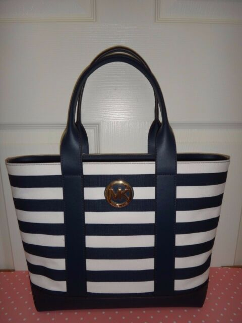 317f7f3861 MICHAEL KORS Womens MK Fulton Navy Blue White Striped Canvas Tote Bag  38S7XFCT2C