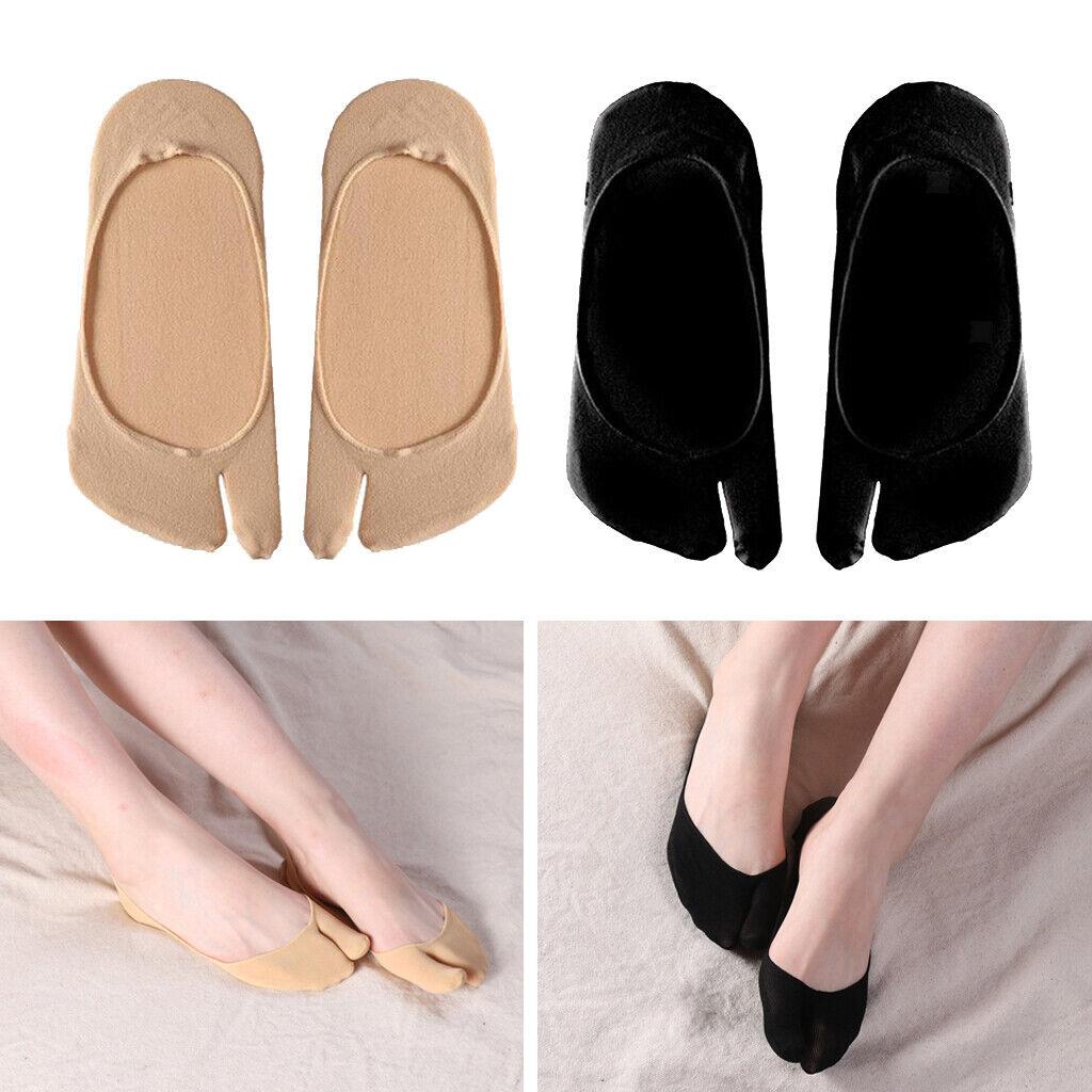 2 Paar Damen Tabi Flip Flop Socken Ultra Low Cut 2 Zehensocken Schwarz + Beige