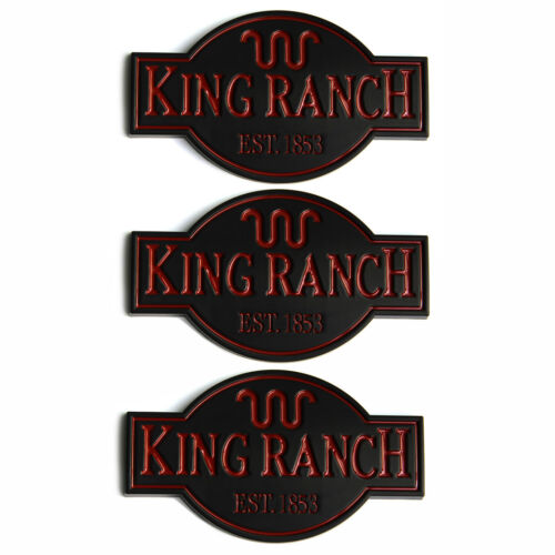 3x OEM King Ranch Badge Emblem Door Tailgate 3D for Ford F250 F350 Black Red W